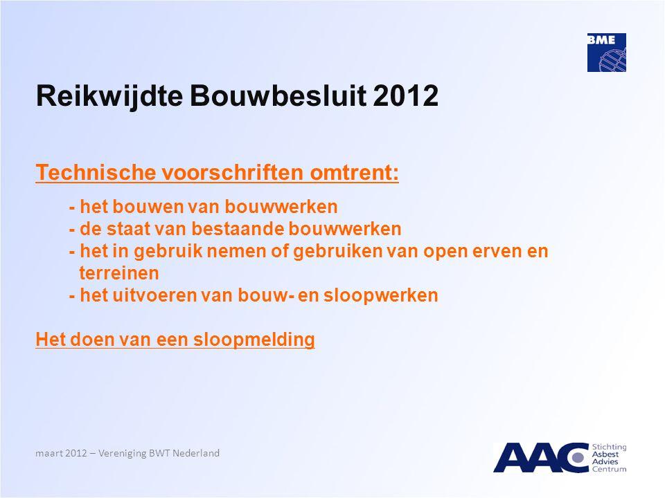 Reikwijdte Bouwbesluit 2012 Technische voorschriften omtrent: - het bouwen van bouwwerken - de staat van bestaande bouwwerken - het in gebruik nemen o