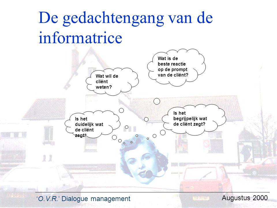 'O.V.R.' Dialogue management Augustus 2000 De gedachtengang van de informatrice Wat wil de cliënt weten? Wat is de beste reactie op de prompt van de c
