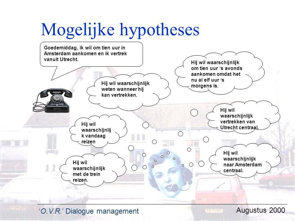 'O.V.R.' Dialogue management Augustus 2000 Mogelijke hypotheses Hij wil waarschijnlijk met de trein reizen. Hij wil waarschijnlijk vertrekken van Utre