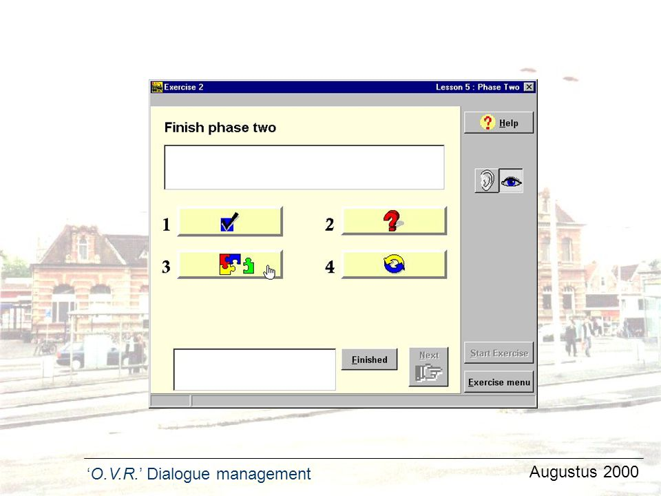 'O.V.R.' Dialogue management Augustus 2000