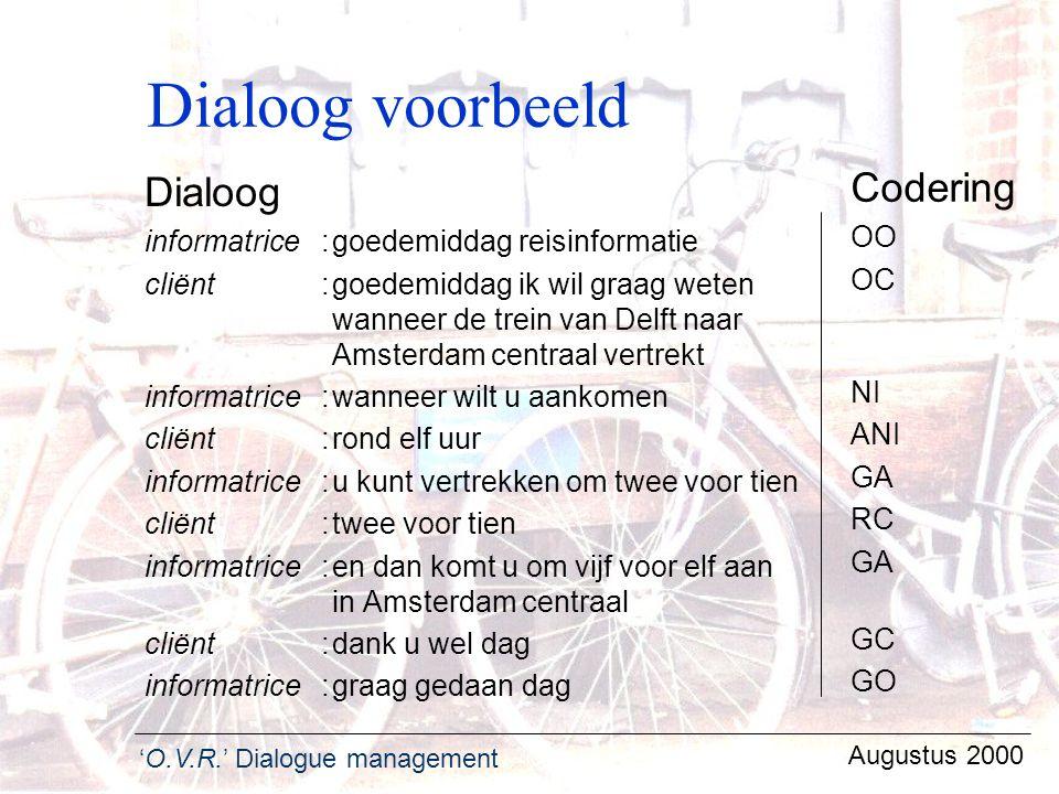 'O.V.R.' Dialogue management Augustus 2000 Dialoog voorbeeld Dialoog informatrice:goedemiddag reisinformatie cliënt :goedemiddag ik wil graag weten wa