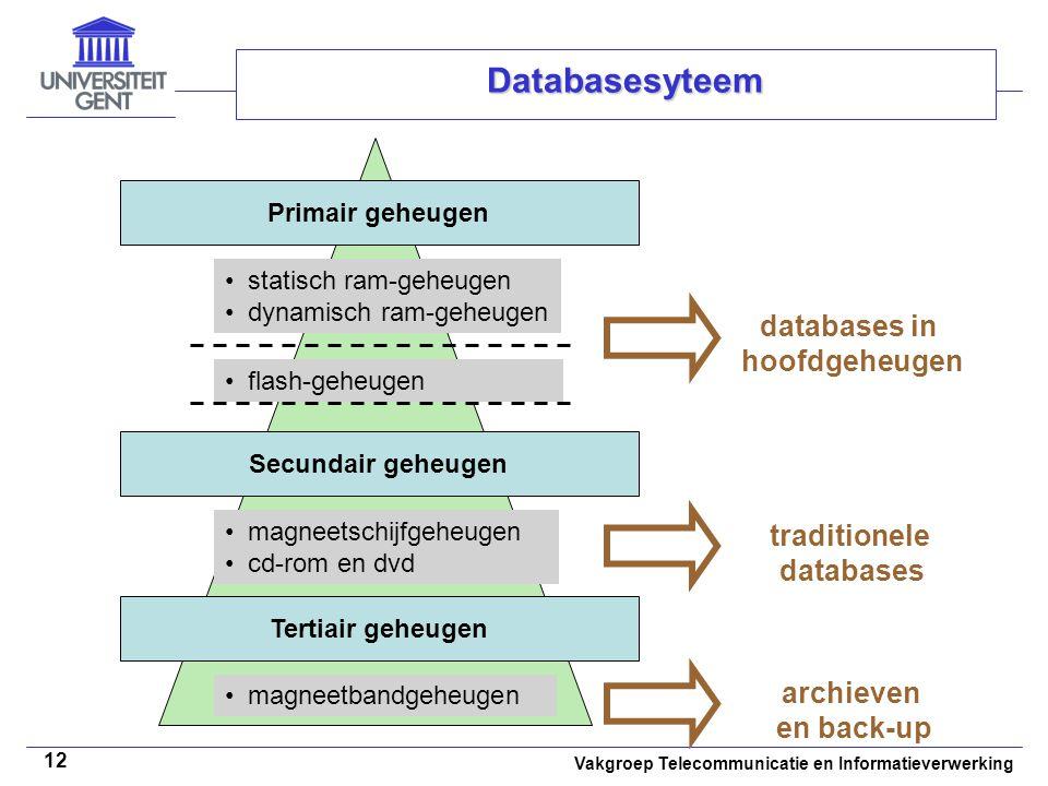 Vakgroep Telecommunicatie en Informatieverwerking 12 Databasesyteem Primair geheugen Secundair geheugen Tertiair geheugen • statisch ram-geheugen • dy