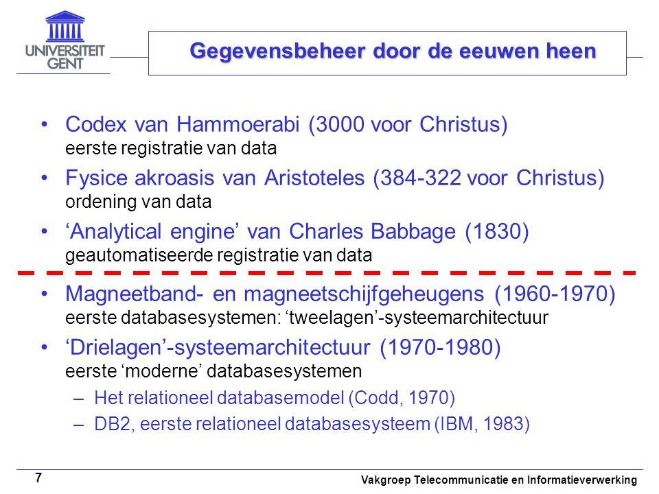 Vakgroep Telecommunicatie en Informatieverwerking 8 Overzicht • •Basisconcepten • •Gegevensbeheer door de eeuwen heen • •Databasesysteem • •Databasemanagementsysteem • •Wanneer een databasesysteem gebruiken?