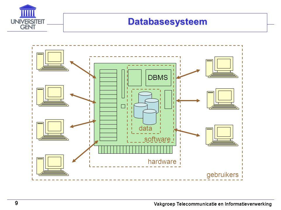 Vakgroep Telecommunicatie en Informatieverwerking 10 Databasesysteem • •Hardware –Central Processing Unit (CPU) –Computergeheugen •Primair geheugen  databasebuffers –Volatiel –Kleiner –Sneller •Secundair geheugen  databases –Niet-volatiel –Groter –Trager