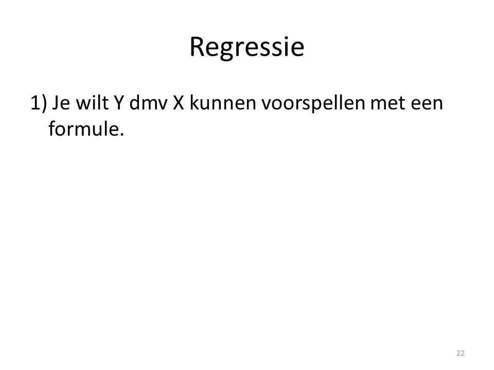 Regressie 1) Je wilt Y dmv X kunnen voorspellen met een formule. 22