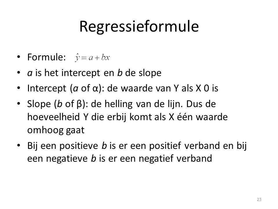 Regressieformule • Formule: • a is het intercept en b de slope • Intercept (a of α): de waarde van Y als X 0 is • Slope (b of β): de helling van de lijn.