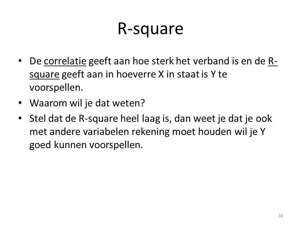 R-square • De correlatie geeft aan hoe sterk het verband is en de R- square geeft aan in hoeverre X in staat is Y te voorspellen. • Waarom wil je dat