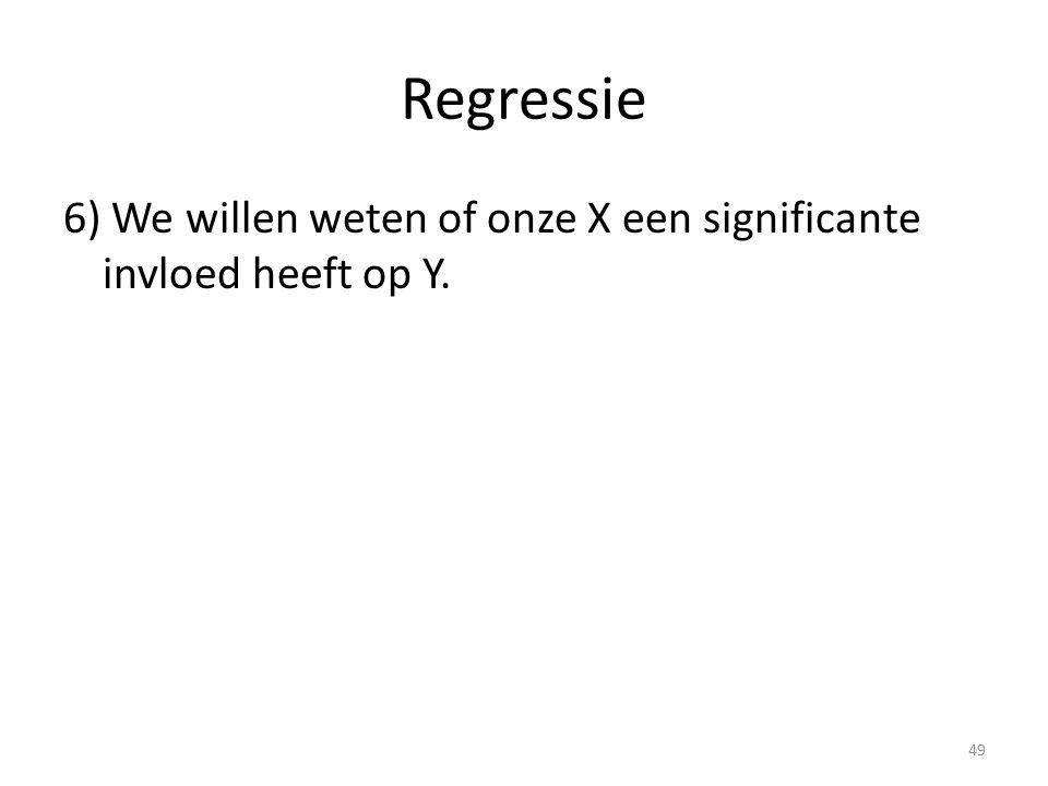 Regressie 6) We willen weten of onze X een significante invloed heeft op Y. 49