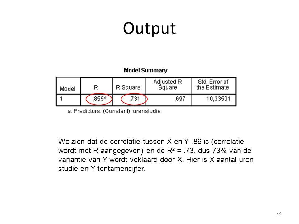 Output We zien dat de correlatie tussen X en Y.86 is (correlatie wordt met R aangegeven) en de R² =.73, dus 73% van de variantie van Y wordt veklaard door X.