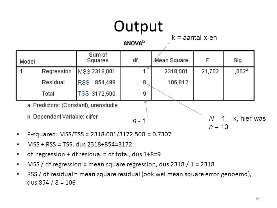 Output • R-squared: MSS/TSS = 2318.001/3172.500 = 0.7307 • MSS + RSS = TSS, dus 2318+854=3172 • df regression + df residual = df total, dus 1+8=9 • MSS / df regression = mean square regression, dus 2318 / 1 = 2318 • RSS / df residual = mean square residual (ook wel mean square error genoemd), dus 854 / 8 = 106 MSS RSS TSS k = aantal x-en N – 1 – k, hier was n = 10 n - 1 60