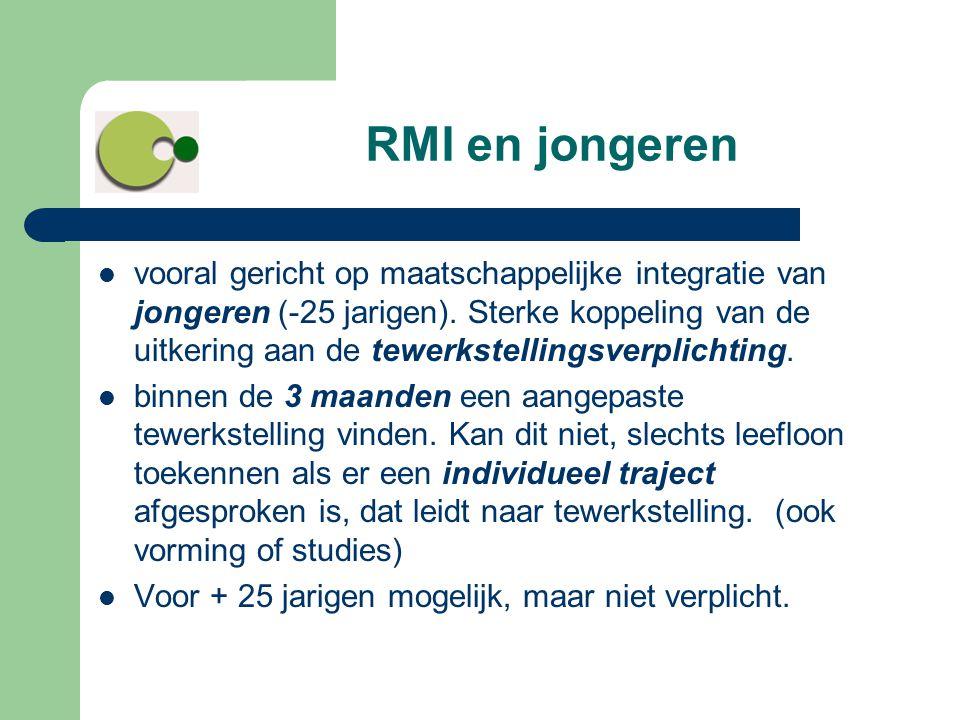 RMI en jongeren  vooral gericht op maatschappelijke integratie van jongeren (-25 jarigen). Sterke koppeling van de uitkering aan de tewerkstellingsve