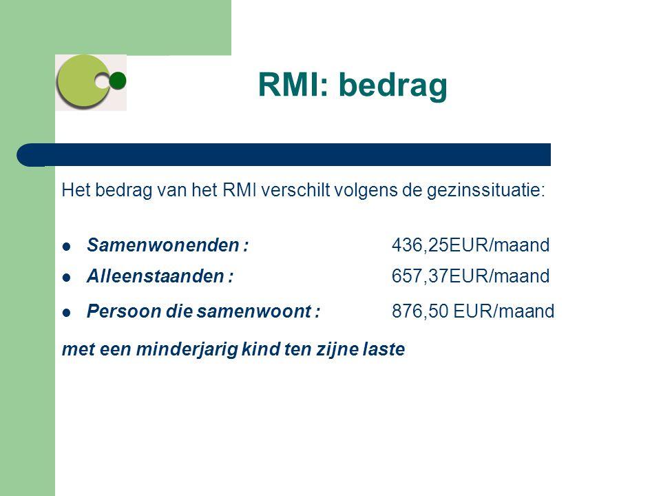 Het bedrag van het RMI verschilt volgens de gezinssituatie:  Samenwonenden : 436,25EUR/maand  Alleenstaanden : 657,37EUR/maand  Persoon die samenwo