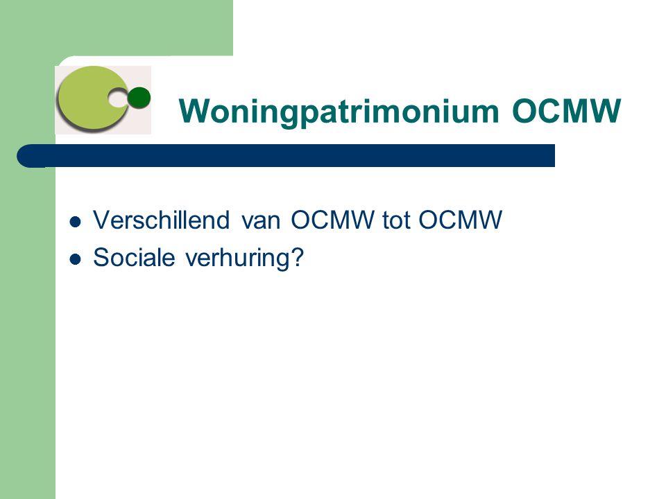 Woningpatrimonium OCMW  Verschillend van OCMW tot OCMW  Sociale verhuring?