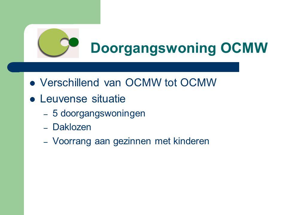 Doorgangswoning OCMW  Verschillend van OCMW tot OCMW  Leuvense situatie – 5 doorgangswoningen – Daklozen – Voorrang aan gezinnen met kinderen