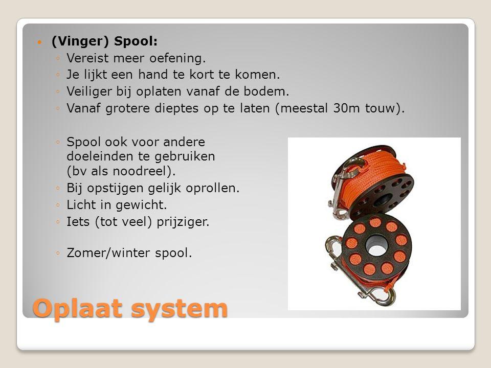 Oplaat system  (Vinger) Spool: ◦Vereist meer oefening. ◦Je lijkt een hand te kort te komen. ◦Veiliger bij oplaten vanaf de bodem. ◦Vanaf grotere diep