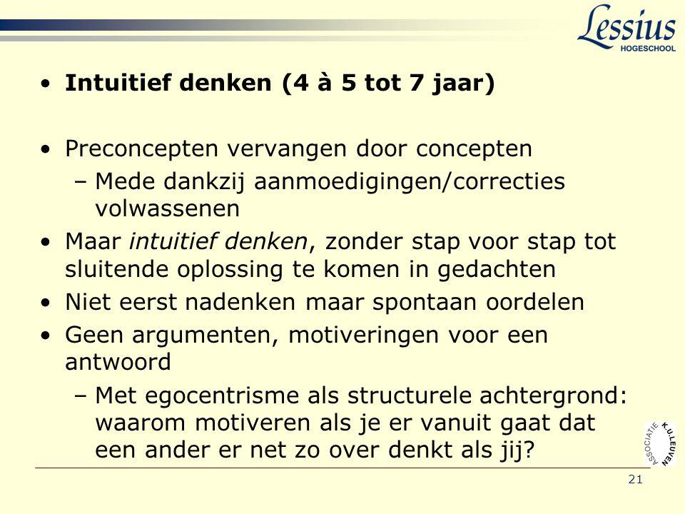 21 •Intuitief denken (4 à 5 tot 7 jaar) •Preconcepten vervangen door concepten –Mede dankzij aanmoedigingen/correcties volwassenen •Maar intuitief den