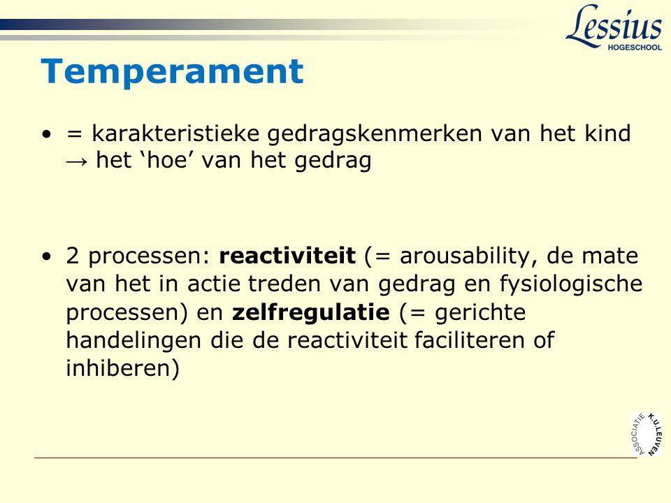 Temperament •= karakteristieke gedragskenmerken van het kind → het 'hoe' van het gedrag •2 processen: reactiviteit (= arousability, de mate van het in