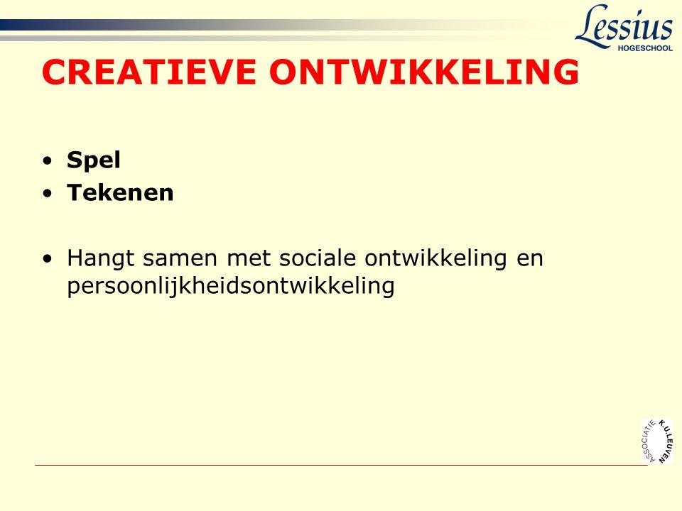 CREATIEVE ONTWIKKELING •Spel •Tekenen •Hangt samen met sociale ontwikkeling en persoonlijkheidsontwikkeling