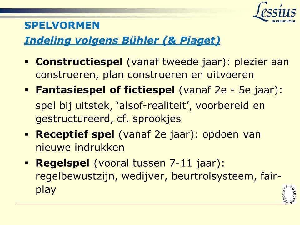 SPELVORMEN Indeling volgens Bühler (& Piaget)  Constructiespel (vanaf tweede jaar): plezier aan construeren, plan construeren en uitvoeren  Fantasie