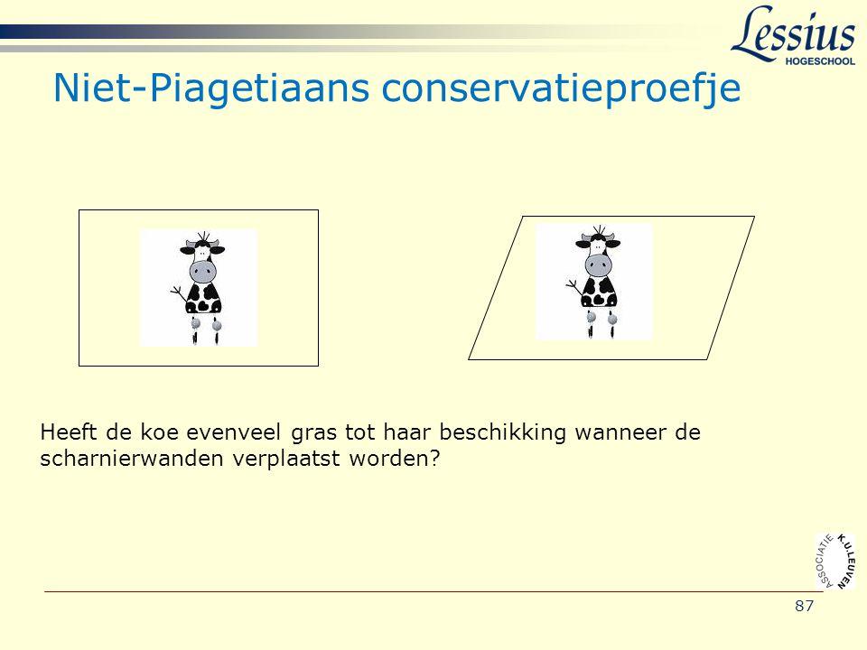 87 Niet-Piagetiaans conservatieproefje Heeft de koe evenveel gras tot haar beschikking wanneer de scharnierwanden verplaatst worden?