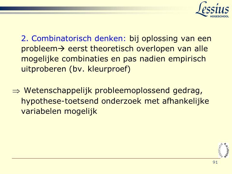 91 2. Combinatorisch denken: bij oplossing van een probleem  eerst theoretisch overlopen van alle mogelijke combinaties en pas nadien empirisch uitpr