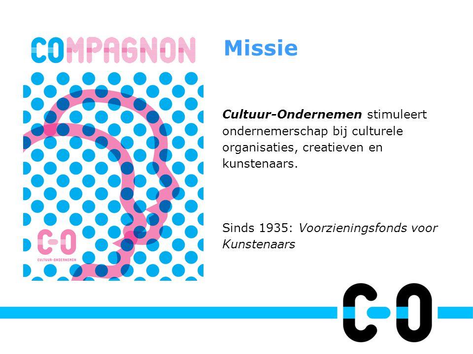Cultuur-Ondernemen stimuleert ondernemerschap bij culturele organisaties, creatieven en kunstenaars. Sinds 1935: Voorzieningsfonds voor Kunstenaars Mi