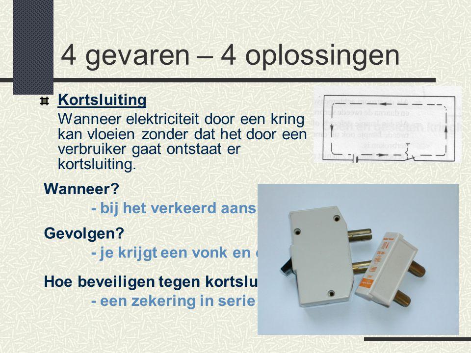 4 gevaren – 4 oplossingen Kortsluiting Wanneer elektriciteit door een kring kan vloeien zonder dat het door een verbruiker gaat ontstaat er kortsluiti