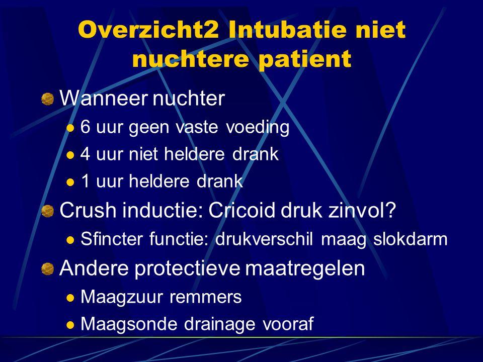 Overzicht2 Intubatie niet nuchtere patient Wanneer nuchter  6 uur geen vaste voeding  4 uur niet heldere drank  1 uur heldere drank Crush inductie: Cricoid druk zinvol.