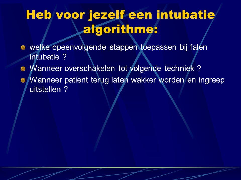 Heb voor jezelf een intubatie algorithme: welke opeenvolgende stappen toepassen bij falen intubatie .