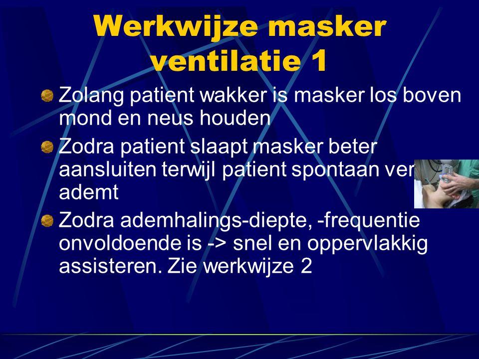 Werkwijze masker ventilatie 1 Zolang patient wakker is masker los boven mond en neus houden Zodra patient slaapt masker beter aansluiten terwijl patient spontaan verder ademt Zodra ademhalings-diepte, -frequentie onvoldoende is -> snel en oppervlakkig assisteren.