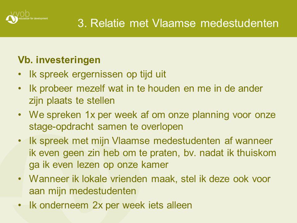 3. Relatie met Vlaamse medestudenten Vb. investeringen •Ik spreek ergernissen op tijd uit •Ik probeer mezelf wat in te houden en me in de ander zijn p
