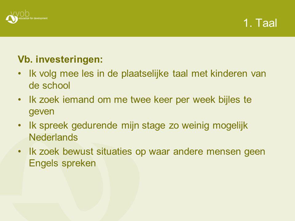 1. Taal Vb. investeringen: •Ik volg mee les in de plaatselijke taal met kinderen van de school •Ik zoek iemand om me twee keer per week bijles te geve