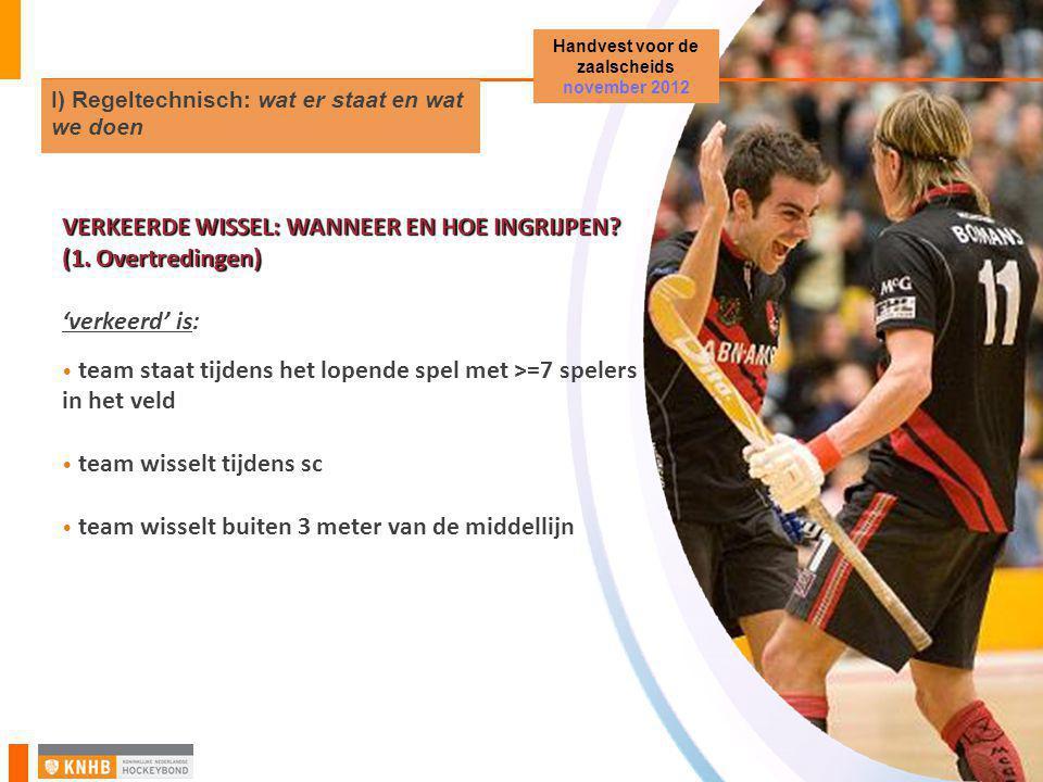 VERKEERDE WISSEL: WANNEER EN HOE INGRIJPEN? (1. Overtredingen) 'verkeerd' is: • team staat tijdens het lopende spel met >=7 spelers in het veld • team