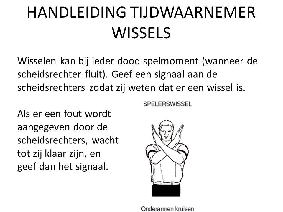 HANDLEIDING TIJDWAARNEMER WISSELS Wisselen kan bij ieder dood spelmoment (wanneer de scheidsrechter fluit).