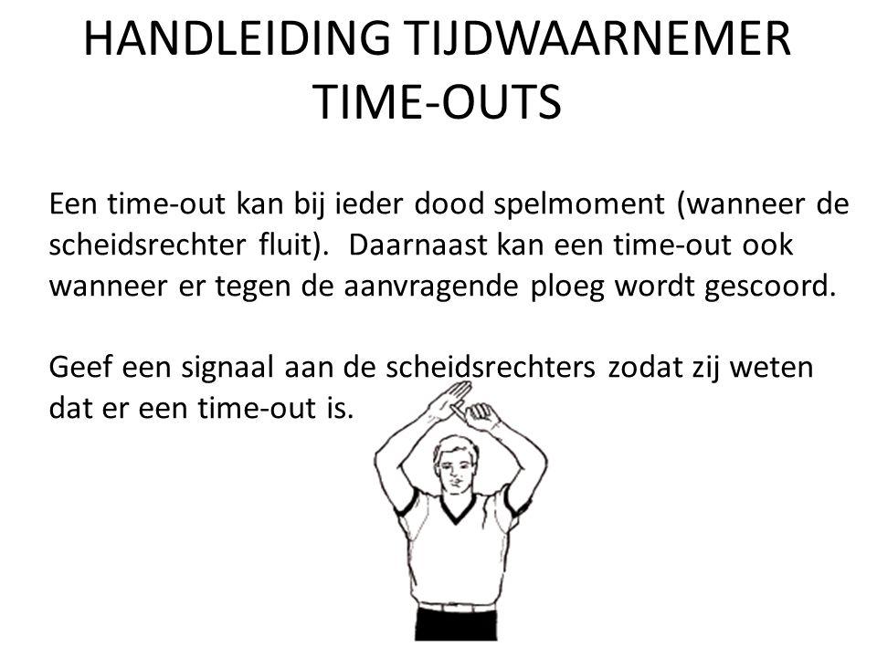 HANDLEIDING TIJDWAARNEMER TIME-OUTS Een time-out kan bij ieder dood spelmoment (wanneer de scheidsrechter fluit).