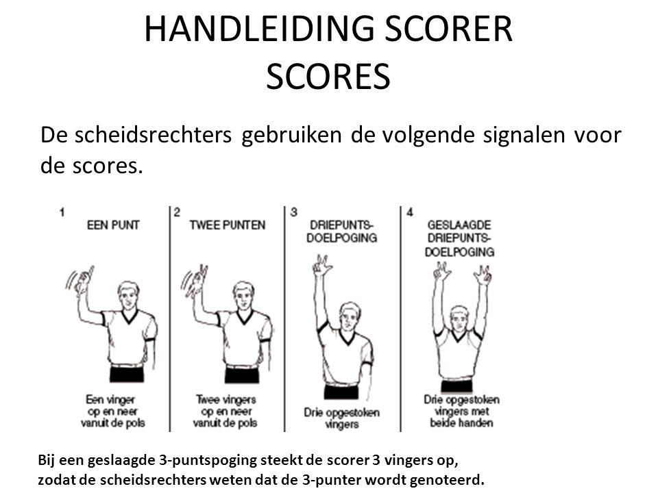 HANDLEIDING SCORER SCORES De scheidsrechters gebruiken de volgende signalen voor de scores.