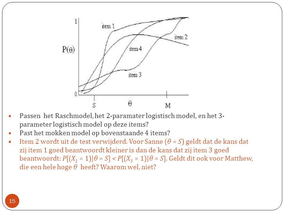 •Passen het Raschmodel, het 2-paramater logistisch model, en het 3- parameter logistisch model op deze items? •Past het mokken model op bovenstaande 4