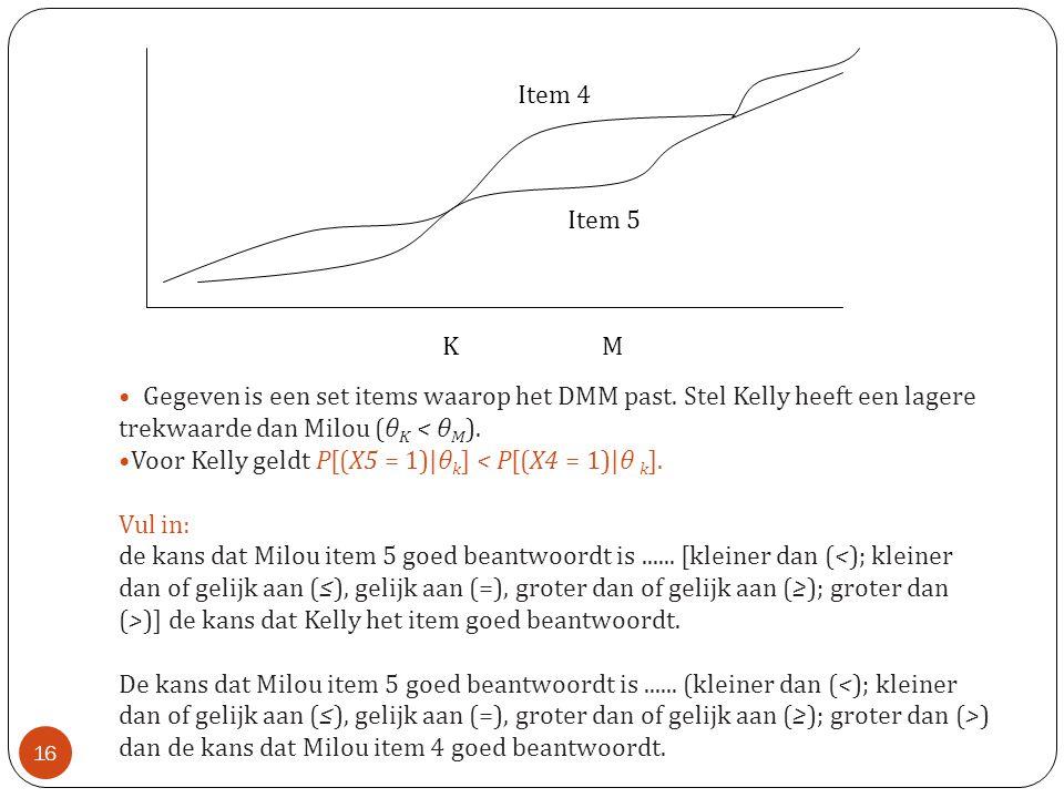 • Gegeven is een set items waarop het DMM past. Stel Kelly heeft een lagere trekwaarde dan Milou (θ K < θ M ). •Voor Kelly geldt P[(X5 = 1)|θ k ] < P[