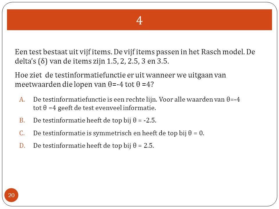 4 20 Een test bestaat uit vijf items. De vijf items passen in het Rasch model. De delta's (δ) van de items zijn 1.5, 2, 2.5, 3 en 3.5. Hoe ziet de tes