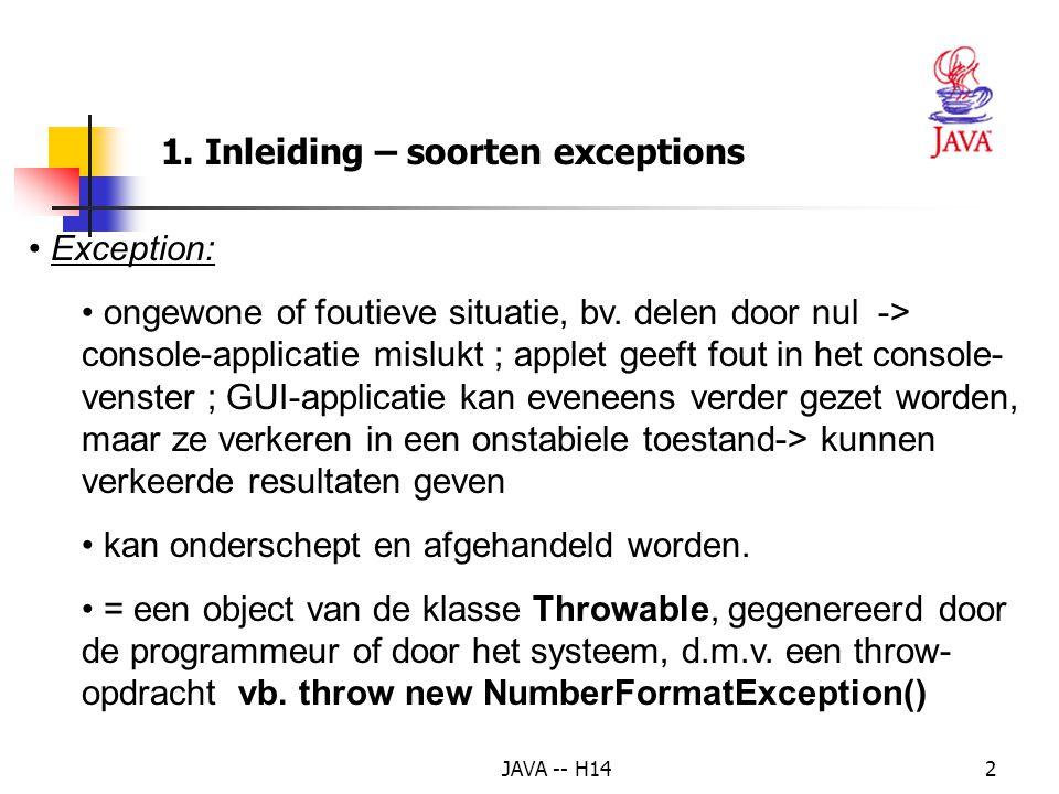 JAVA -- H141 Exception Handling Hoofdstuk 14: