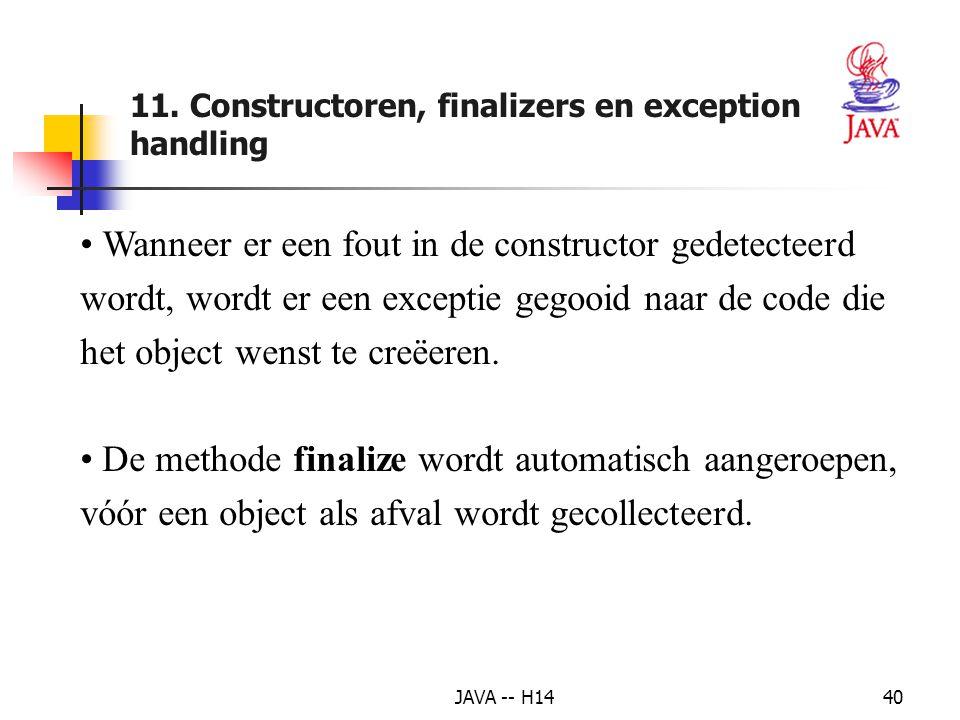 JAVA -- H1439 Uitvoer voorbeeld