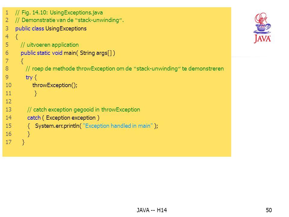 JAVA -- H1449 Voorbeeld Demonstratie van stack-unwinding