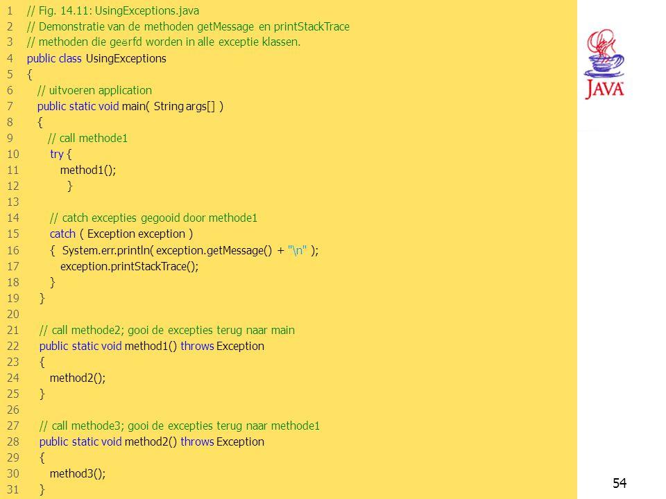JAVA -- H1453 Voorbeeld Demonstratie van de methoden getMessage en printStackTrace