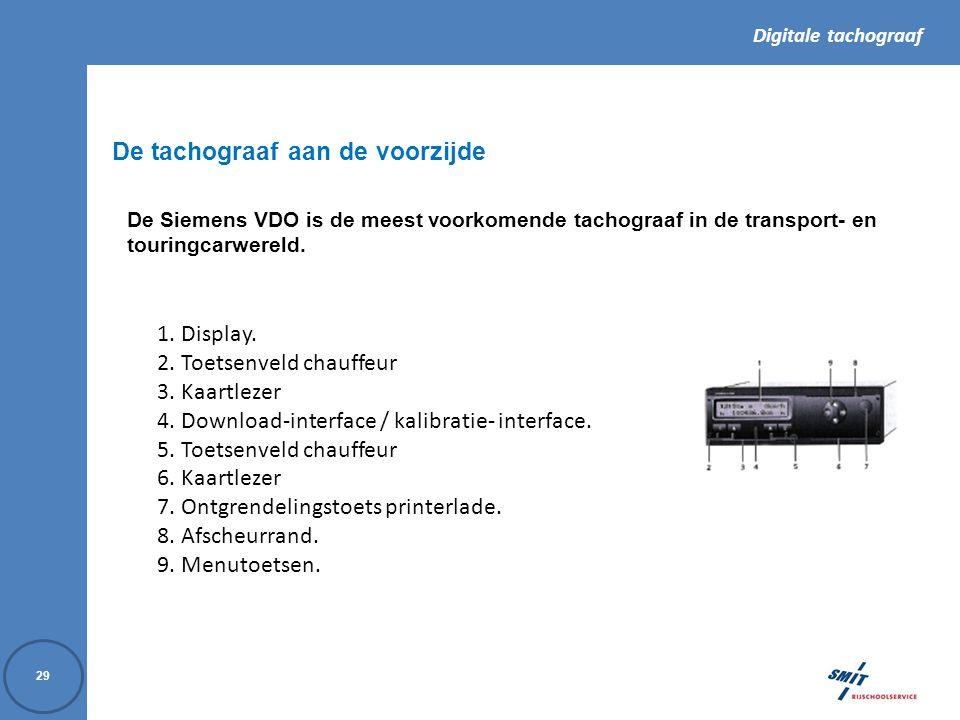 Digitale tachograaf 29 De tachograaf aan de voorzijde De Siemens VDO is de meest voorkomende tachograaf in de transport- en touringcarwereld.