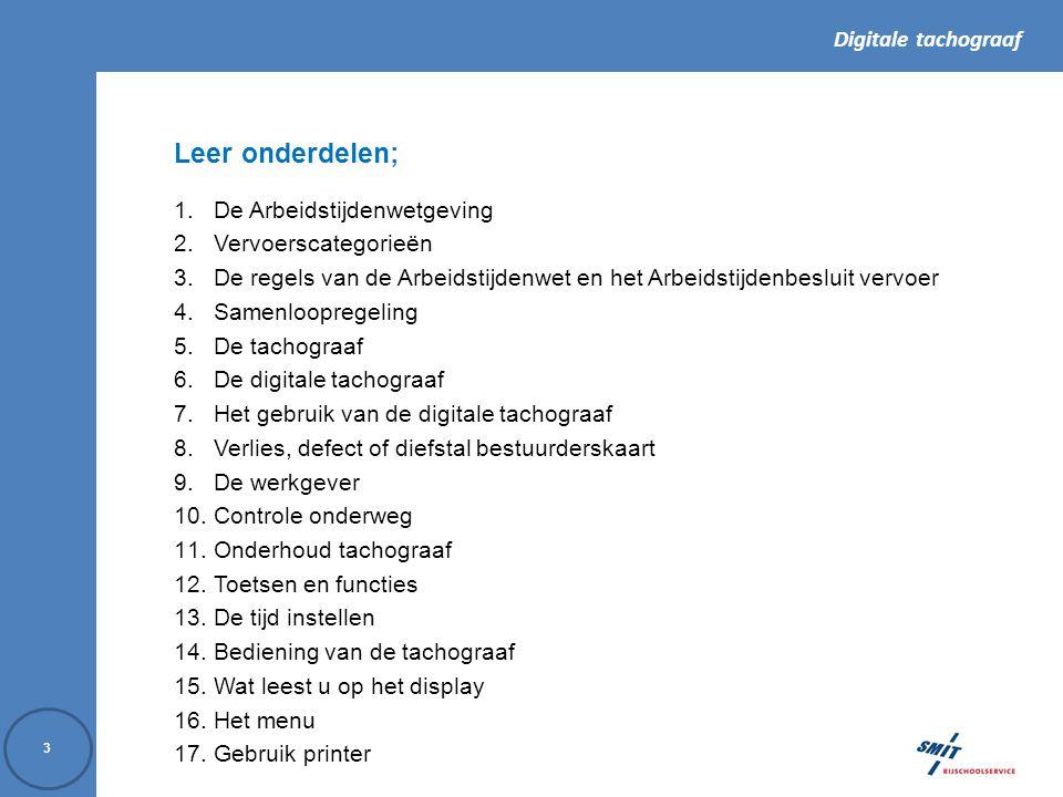 Digitale tachograaf 44 1.Informatie. 2. Bestuurder 3.