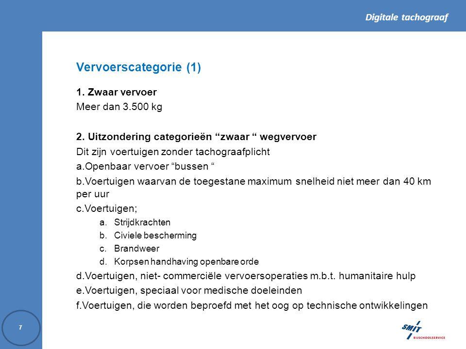 Digitale tachograaf 8 Vervoerscategorie (2) 3.