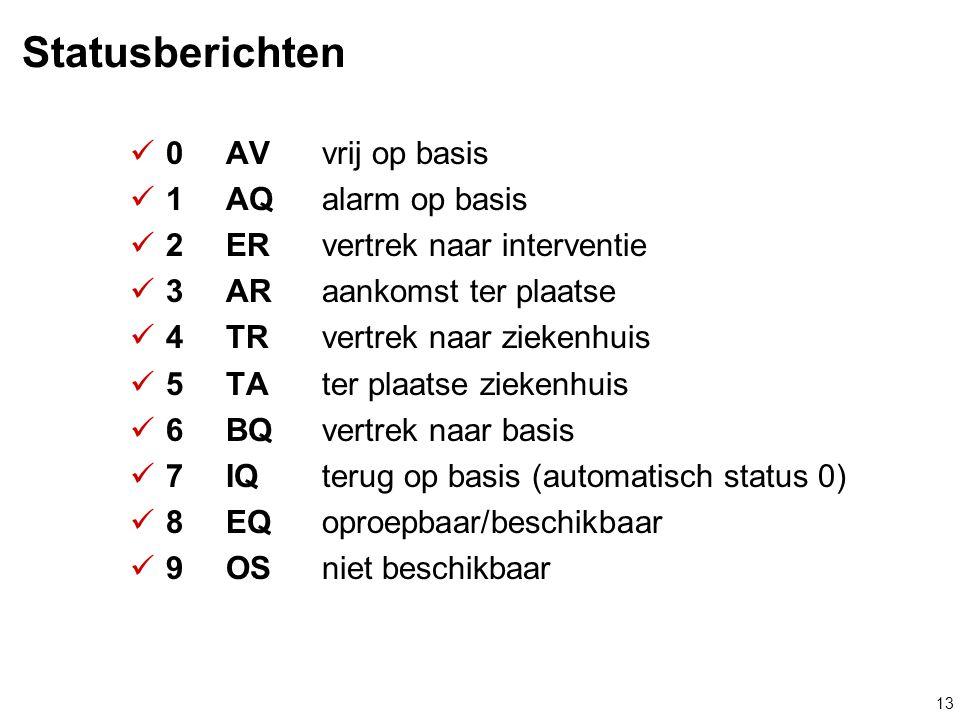 13 Statusberichten  0AVvrij op basis  1AQalarm op basis  2ERvertrek naar interventie  3ARaankomst ter plaatse  4TRvertrek naar ziekenhuis  5TAte