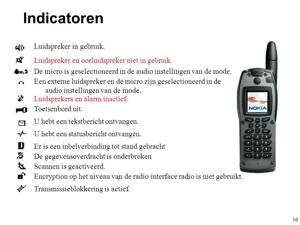 16 Indicatoren Luidspreker in gebruik. Luidspreker en oorluidspreker niet in gebruik. De micro is geselectioneerd in de audio instellingen van de mode