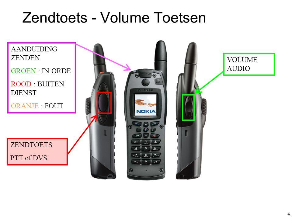 4 Zendtoets - Volume Toetsen VOLUME AUDIO ZENDTOETS PTT of DVS AANDUIDING ZENDEN GROEN : IN ORDE ROOD : BUITEN DIENST ORANJE : FOUT