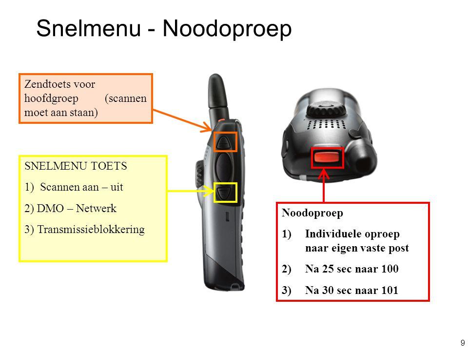 9 Snelmenu - Noodoproep SNELMENU TOETS 1) Scannen aan – uit 2) DMO – Netwerk 3) Transmissieblokkering Zendtoets voor hoofdgroep (scannen moet aan staa